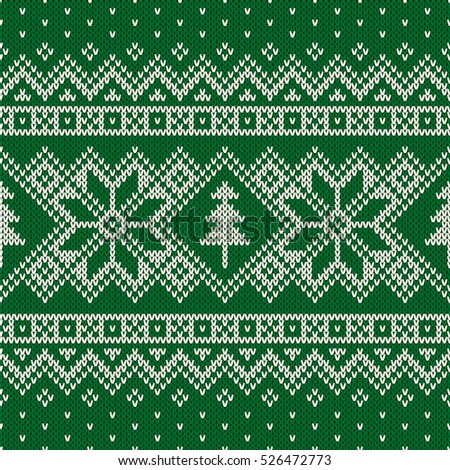 Winter Holiday Seamless Knitting Pattern Christmas Stock Vector ...