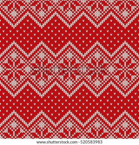 Winter Holiday Seamless Knitting Pattern Snowflakes Stock Vector