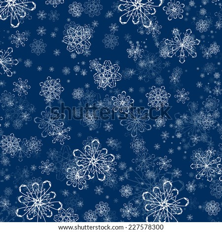 Winter Holiday Snowflake Flat Background  - stock vector