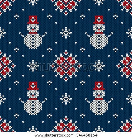 Winter Holiday Sweater Design. Seamless Knitted Pattern - stock vector