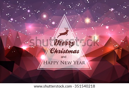 Winter holidays card-Abstract polygonal background - stock vector