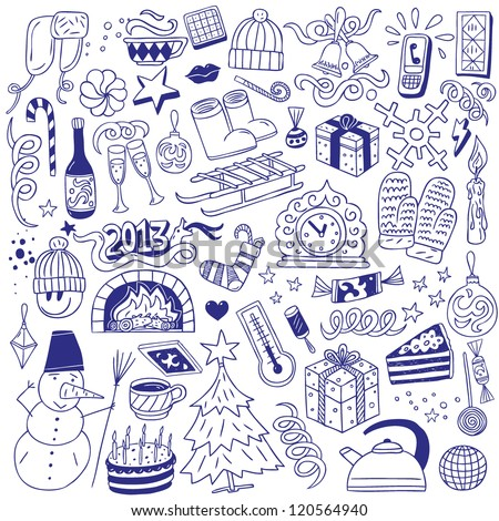 Winter holidays - doodles collection - stock vector