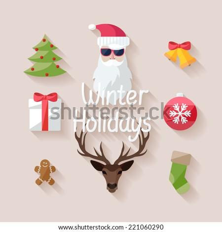 Winter holidays. Flat design. - stock vector
