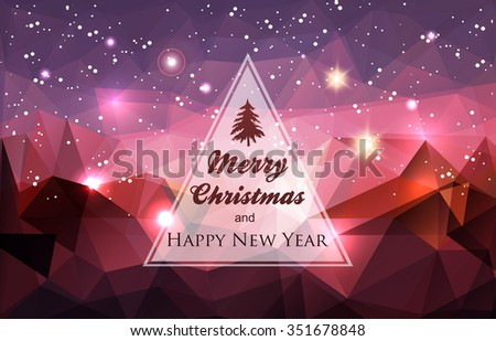 Winter holidays greeting card-Abstract polygonal background - stock vector