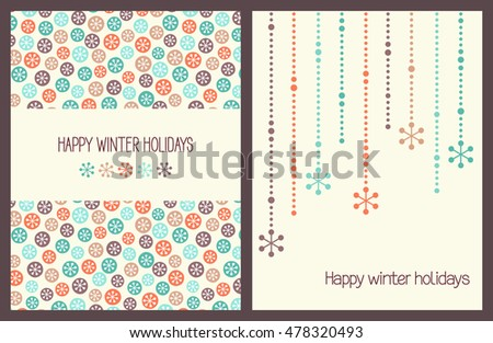 Winter holidays greeting cards with snowflakes