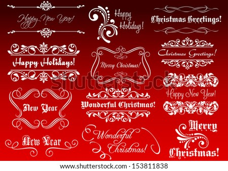 Winter holidays greetings and calligraphic elements for Christmas or New Year design. Jpeg version also available in gallery - stock vector