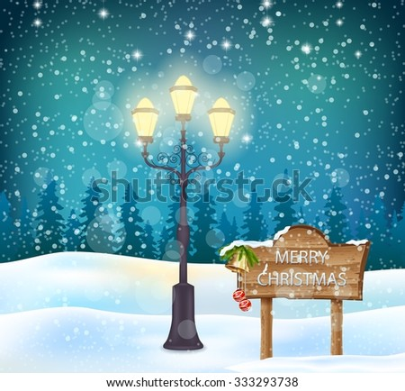 Winter holidays landscape with wooden sign - stock vector