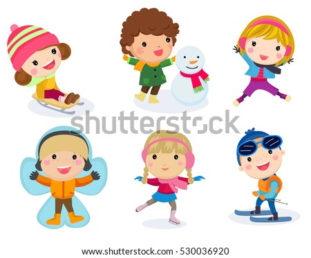 Winter holidays. Little girl sculpts snowman, skating, skiing, sledding,  boy received a gift of a puppy, makes a snow angel, children playing in snowballs, vector set