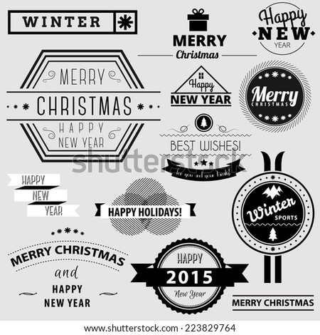 Winter holidays retro badges set. Vintage greetings for christmas and New Year badges, winter sports badges, ribbons with greetings. - stock vector