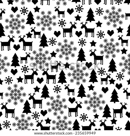 Winter holidays seamless pattern with christmas decorations cute black and white background for merry xmas
