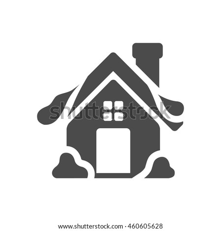 Winter house icon in black and white grey single color. Snow December Christmas - stock vector
