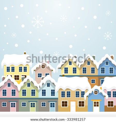 Winter Houses , Snowing Scene and Background