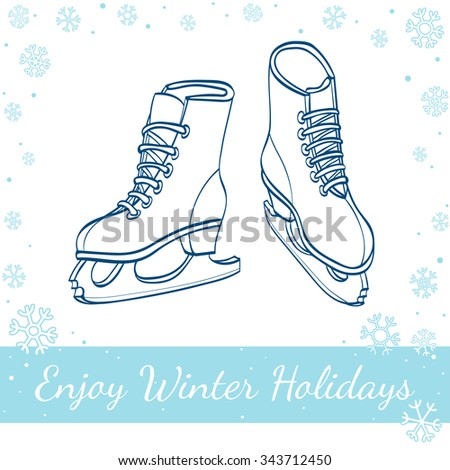 Winter ice skates isolated on white background. Vector hand drawn line art illustration