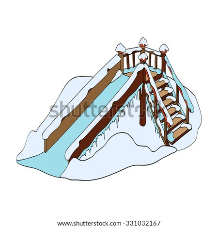 Winter. Ice slide. Hand-drawn vector Illustration isolated on white background