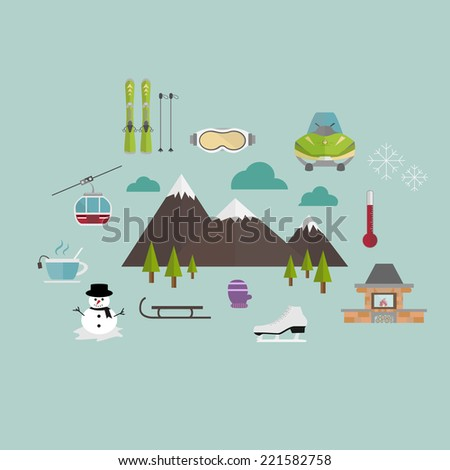 Winter icon set - stock vector