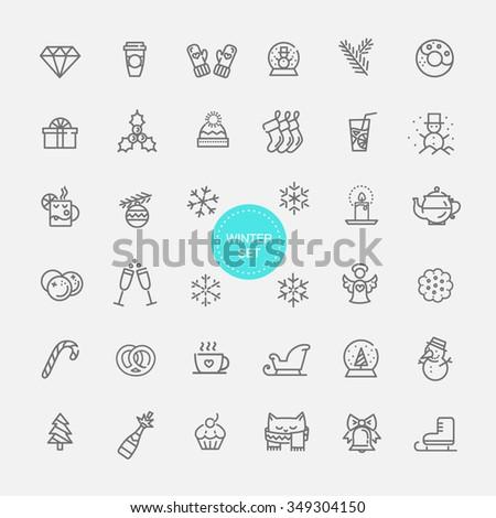 winter icon set - stock vector