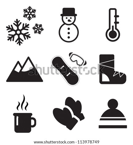 winter icons stock vektorgrafik 113978749 shutterstock. Black Bedroom Furniture Sets. Home Design Ideas