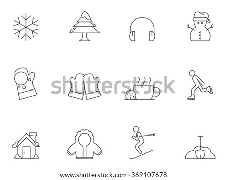 Winter icons in thin outlines.  - stock vector