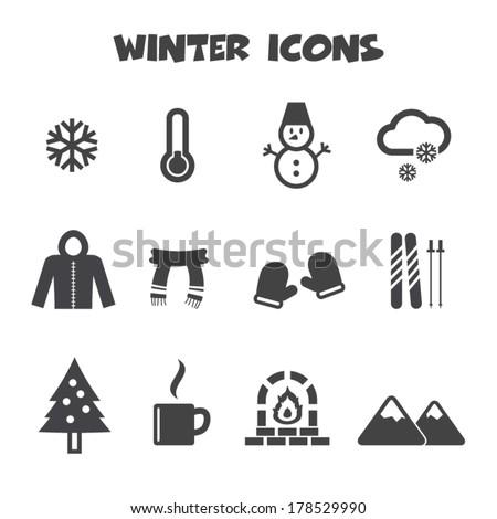 winter icons, mono vector symbols - stock vector
