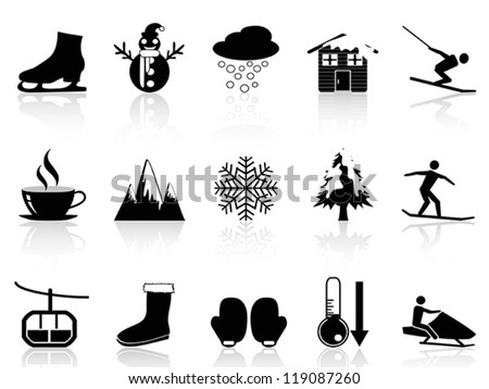 winter icons set - stock vector