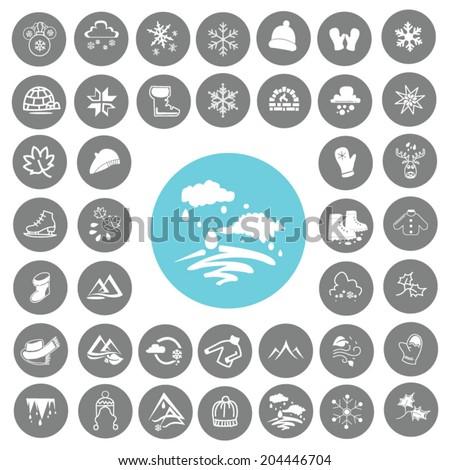 Winter Icons set - stock vector