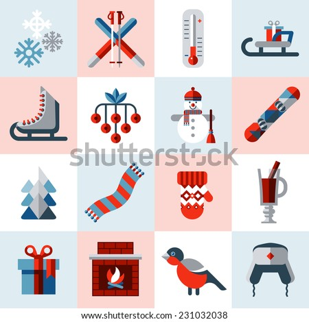 Winter icons set with snowman christmas tree snowboard cup isolated vector illustration - stock vector