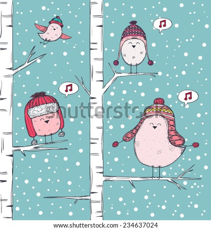 Winter illustration with birds singing on branch - stock vector