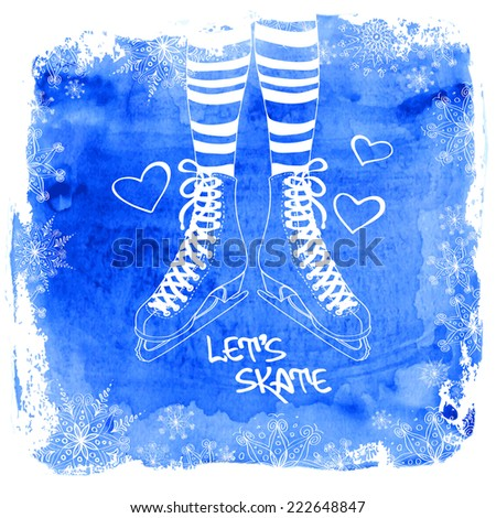 Winter illustration with female legs in striped tights and skates on a watercolor background
