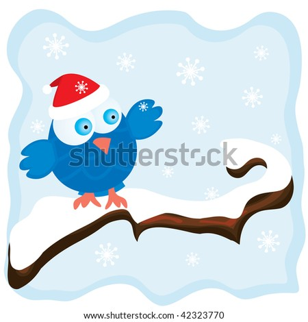 Winter image with cartoon blue bird wearing a red christmas hat and snowfall background. Vector illustration. - stock vector
