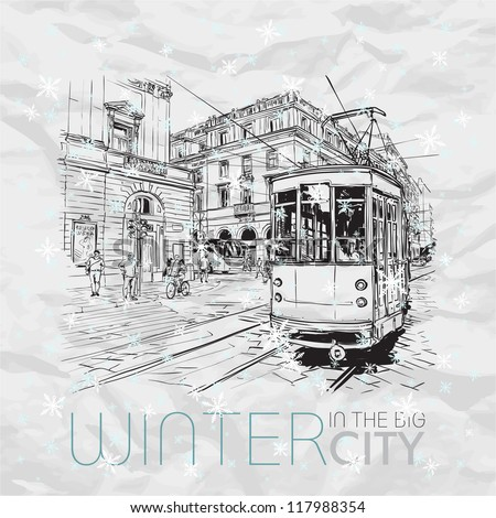 Winter in the city. Vector illustration. - stock vector