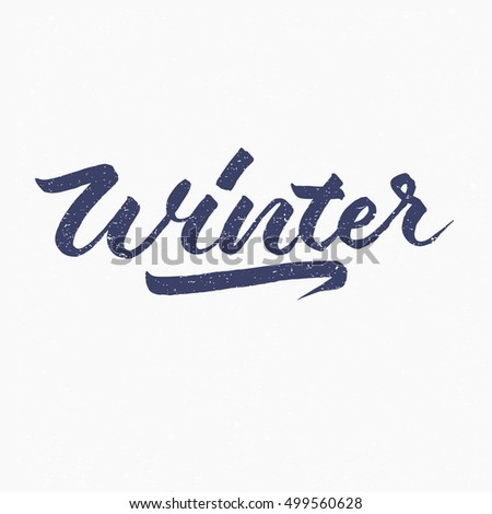Winter. Ink hand lettering. Modern brush calligraphy. Handwritten phrase. Inspiration graphic design typography element. Cute simple vector sign.