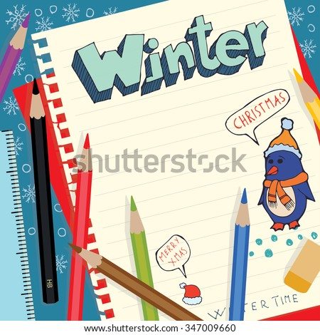 Winter inscription doodle. Isolated hand drawn vector illustration on note paper and colored pencils in flat design style