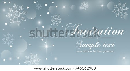 Winter invitation card abstract background crystal stock vector winter invitation card abstract background with crystal snowflakes and snow bright twinkling stars and stopboris Choice Image