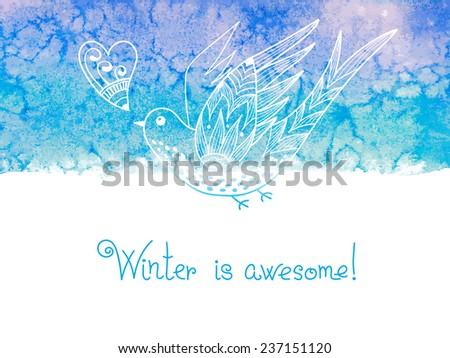 Winter is awesome. Watercolor background with birds. Vector illustration.