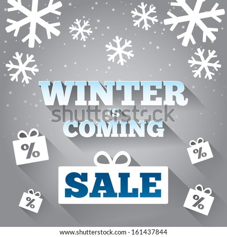 Winter is coming sale background. Merry Christmas card with flat icons. Special offer backdrop. New year discounts. - stock vector