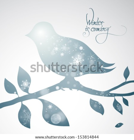 Winter is coming / Surreal illustration of snowy bird - stock vector