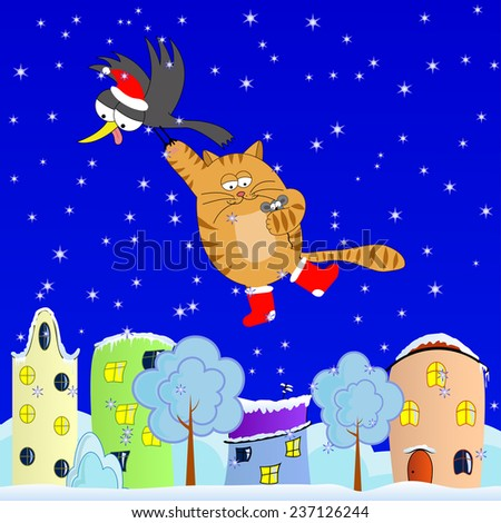 Winter journey of the crow, cat and mouse - stock vector