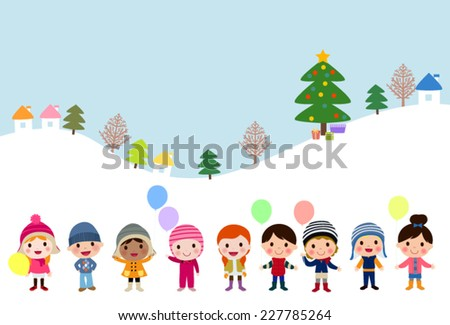 Winter kids with balloons - stock vector