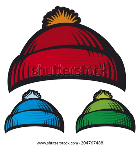 winter knitted cap (wool knitted cap) - stock vector