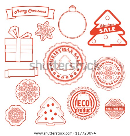 Winter labels vector set. Christmas and eco collection
