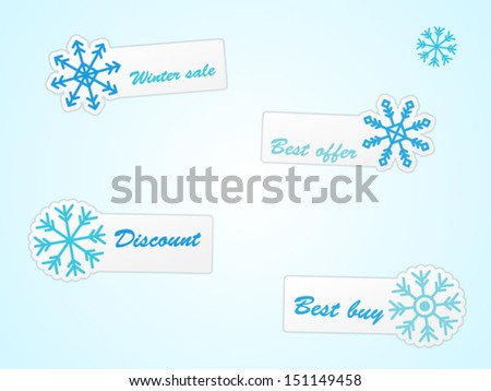 Winter labels with offers  - stock vector