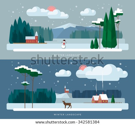Winter landscape background banners set in flat design style. Winter village, church, forest, snowman, deer, christmas tree, snowfall. Vector illustration - stock vector