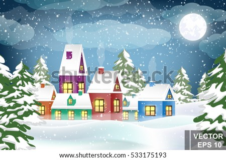 Winter landscape. Christmas trees and houses. Snow. Merry Christmas and a Happy New Year.