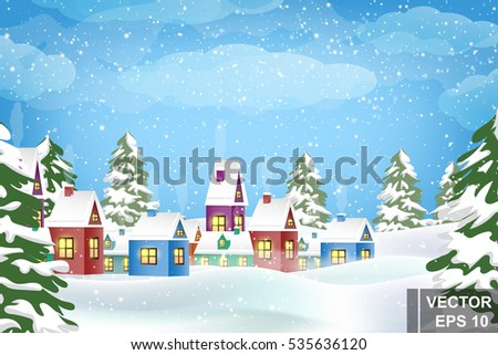 Winter landscape. Christmas trees and houses. Snow. Merry Christmas and a Happy New Year