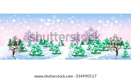 Winter landscape. Christmas trees and trees, snowdrifts and snowflakes, forest and quiet. Vector illustration