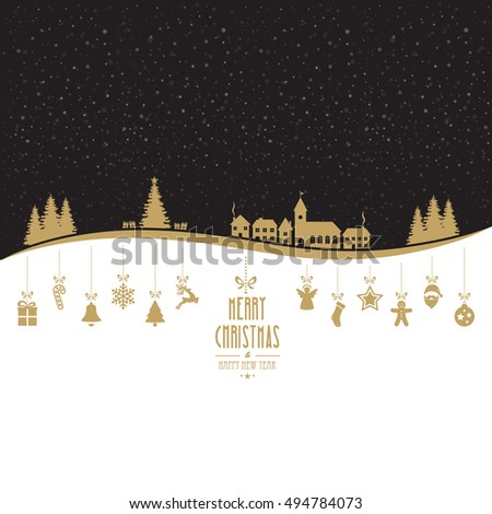 winter landscape golden christmas ornaments