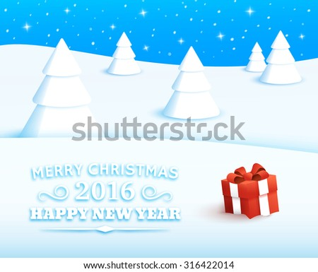 Winter Landscape. 2016 Happy new year. Red gift box with bow and ribbon at white snow. Background with typography elements for christmas. Merry christmas and happy new year greeting card. - stock vector