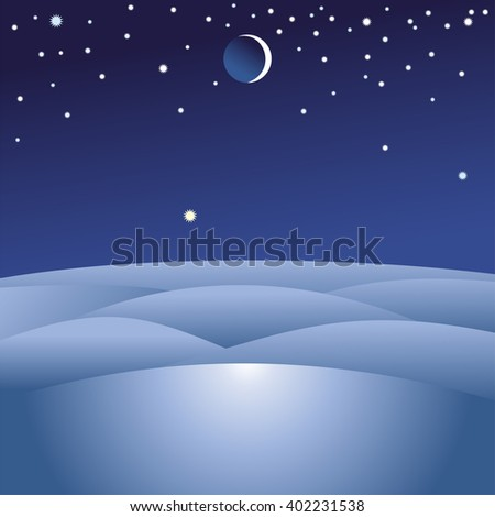 Winter landscape. Hills. Winter desert. Wasteland. Moon and stars in the sky. Winter night. Snow. Vector illustration. - stock vector
