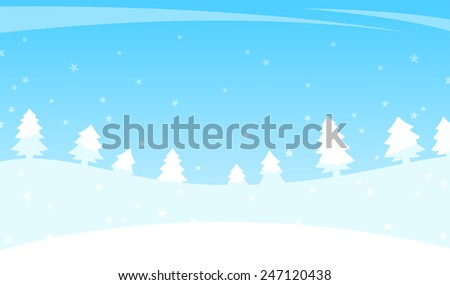 Winter landscape of rolling white hills with trees on the horizon and falling snow flakes over a turquoise blue sky, vector illustration