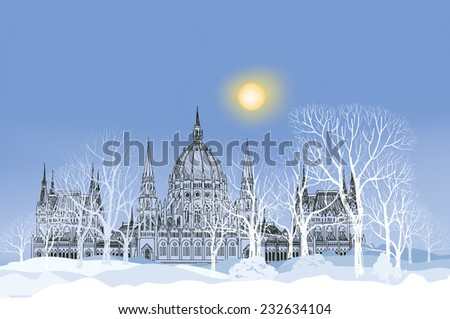 Winter landscape. Park alley in snow with palace and trees on background. Snowy holiday wallpaper. Christmas background. - stock vector